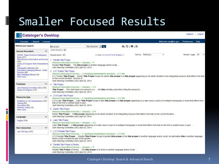 Smaller Focused Results