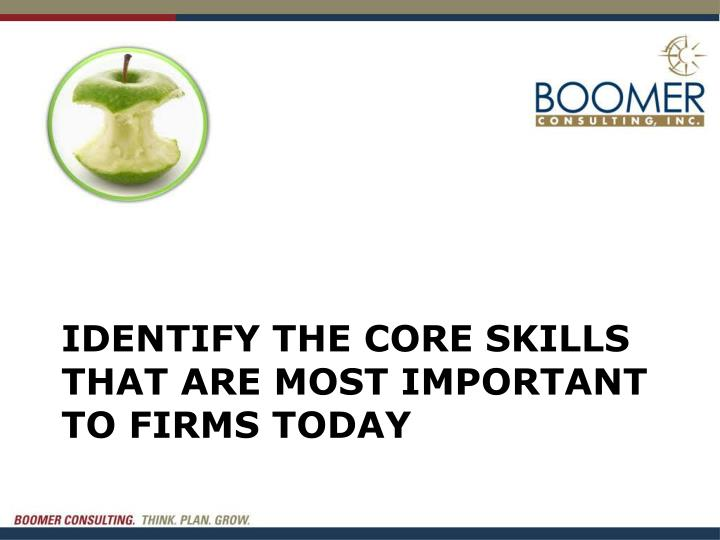 Identify the core skills that are most important to firms today