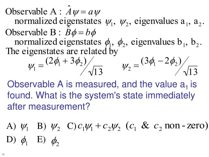 Observable A is measured, and the value a