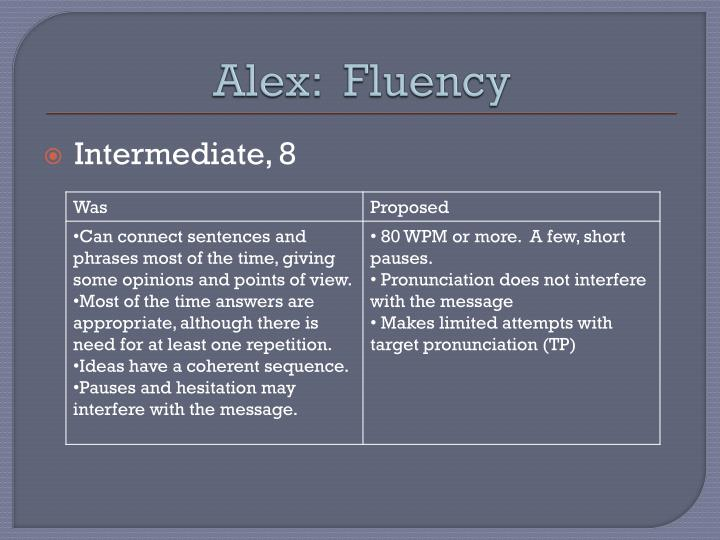 Alex:  Fluency