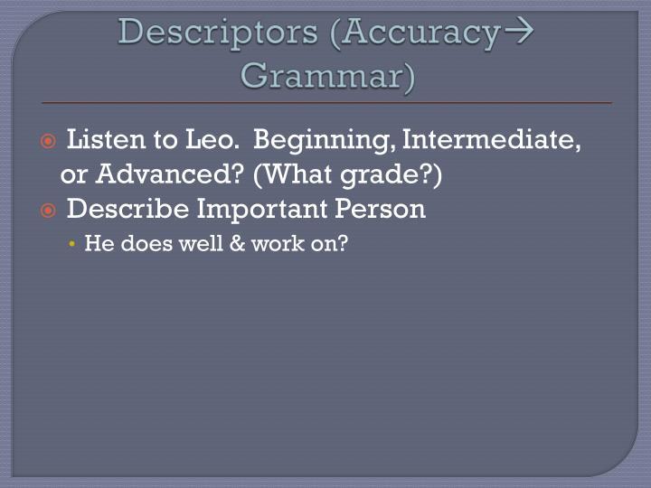 Descriptors (