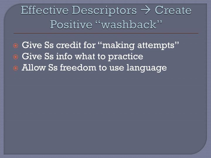 Effective Descriptors