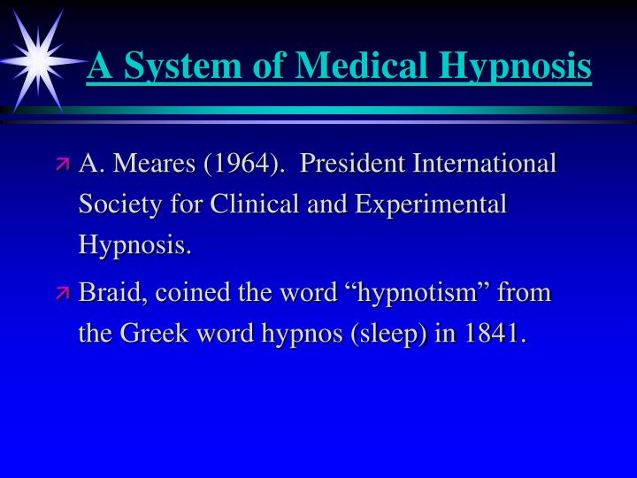A System of Medical Hypnosis
