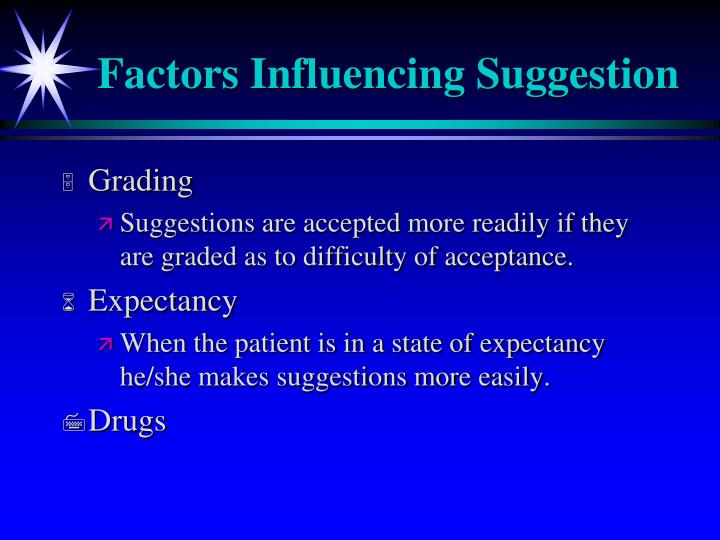 Factors Influencing Suggestion