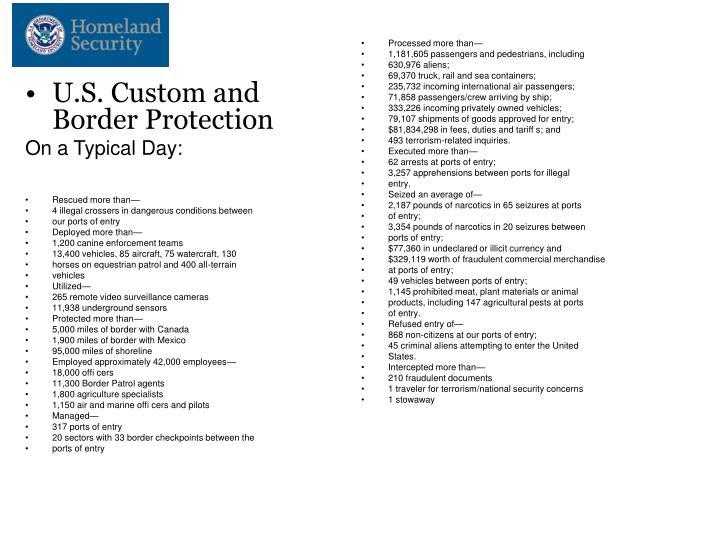 U.S. Custom and Border Protection