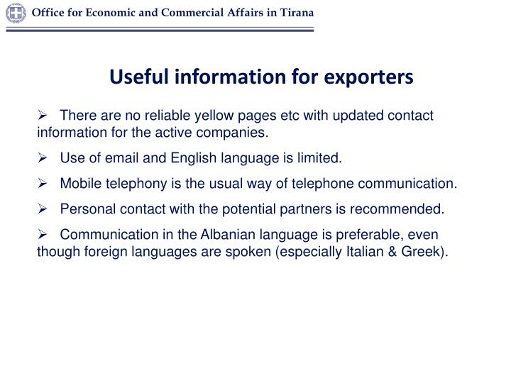 Useful information for exporters