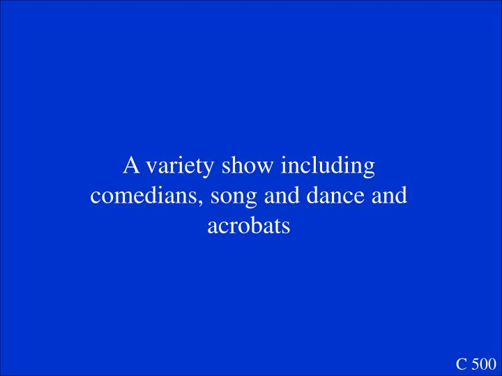A variety show including comedians, song and dance and acrobats