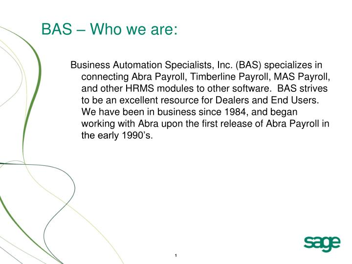 Bas who we are