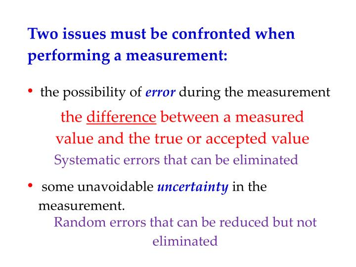 Two issues must be confronted when performing a measurement: