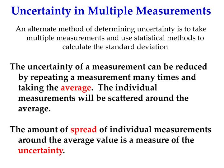 Uncertainty in Multiple Measurements