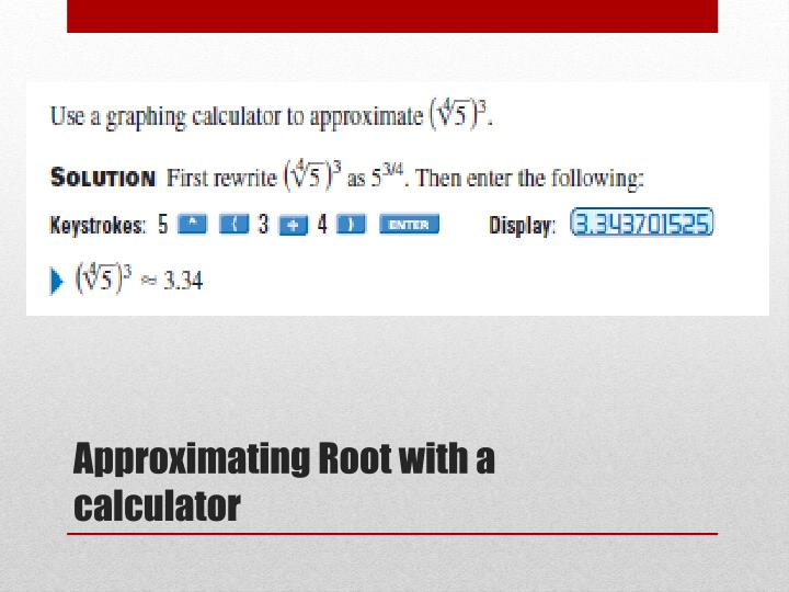 Approximating Root with a calculator