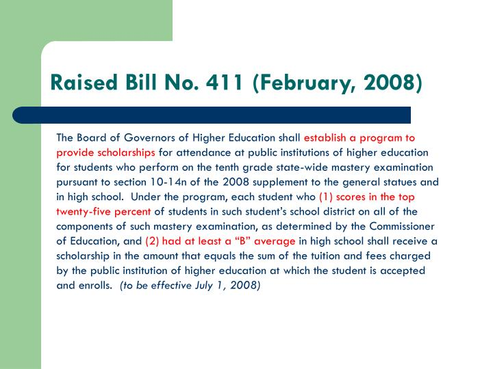 Raised Bill No. 411 (February, 2008)