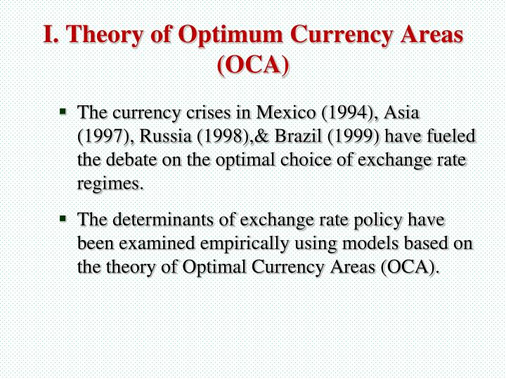 I theory of optimum currency areas oca