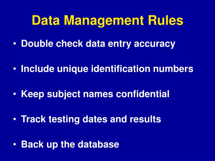 Data Management Rules