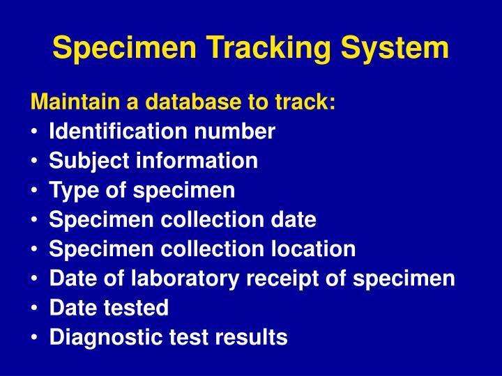 Specimen Tracking System