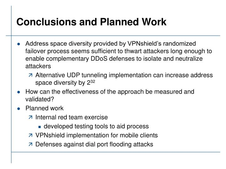 Conclusions and Planned Work
