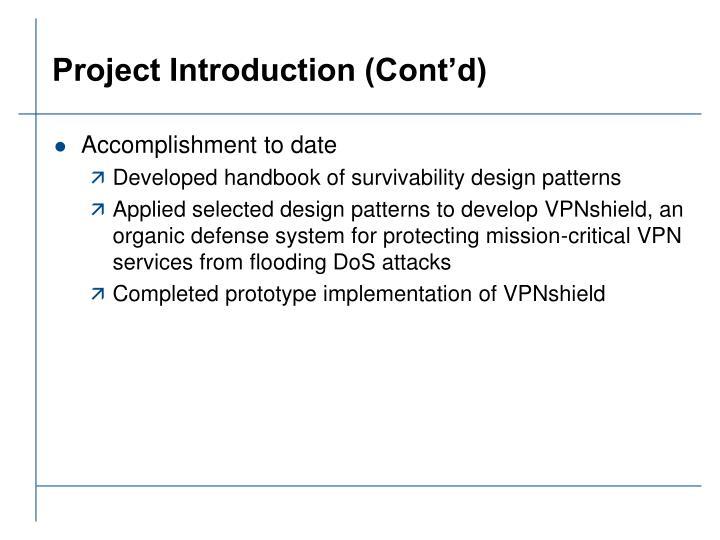 Project introduction cont d