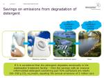 savings on emissions from degradation of detergent