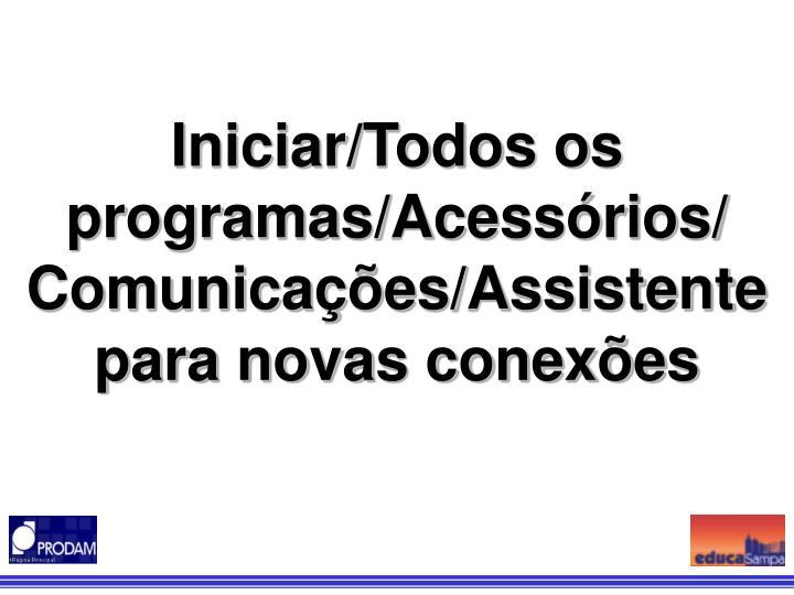 Iniciar/Todos os programas/Acessórios/ Comunicações/Assistente para novas conexões