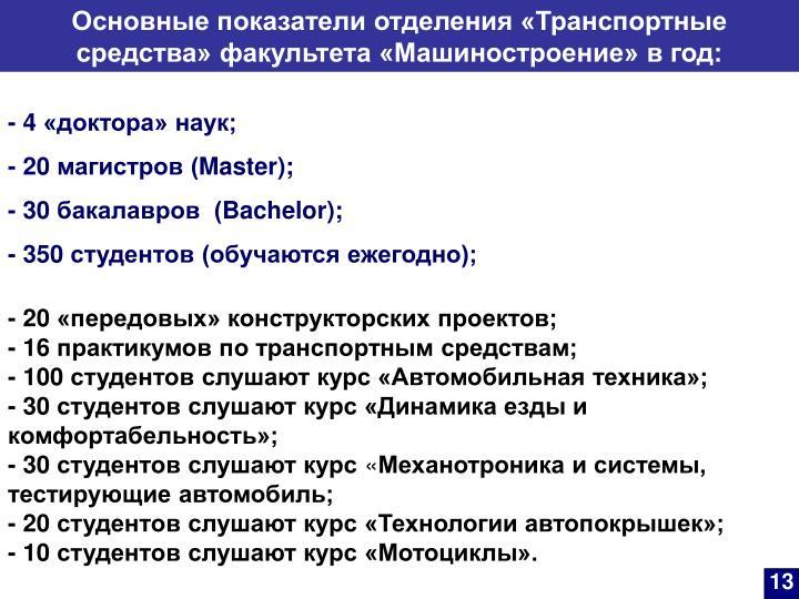 Основные показатели отделения «Транспортные средства» факультета «Машиностроение» в год: