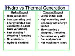 hydro vs thermal generation