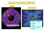 resonance reconstruction in star tpc