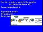 how do you make or get rid of the complex cycling the cyclins to off