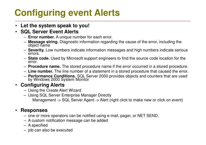 Configuring event Alerts