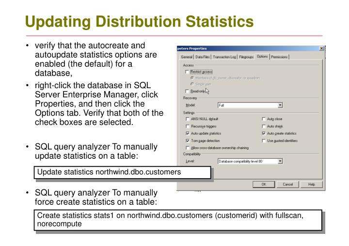 Updating distribution statistics