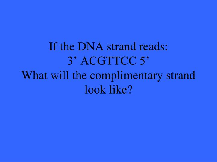 If the DNA strand reads: