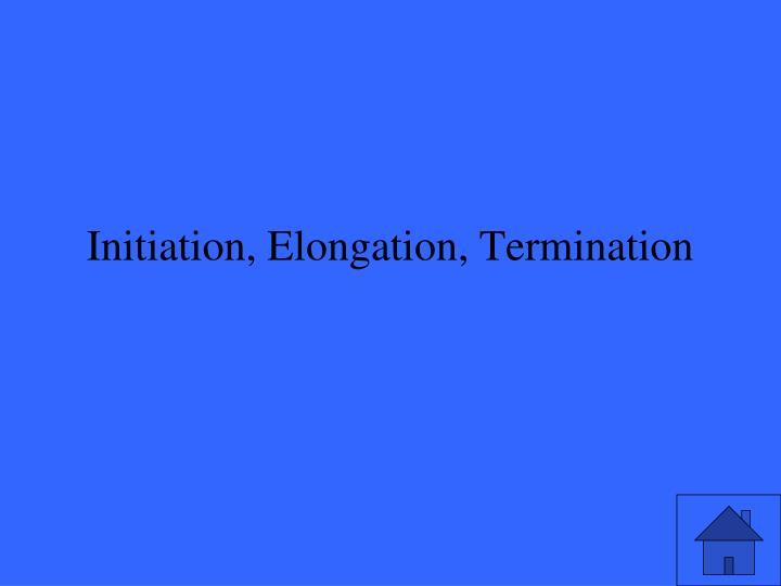 Initiation, Elongation, Termination