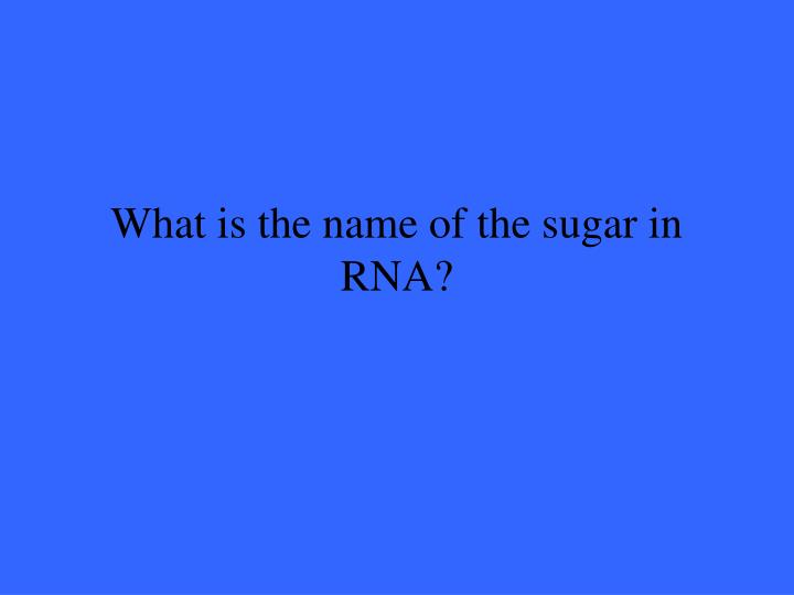 What is the name of the sugar in RNA?