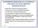 supportive housing as a national strategy to end chronic homelessness