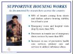 supportive housing works as documented by researchers across the country