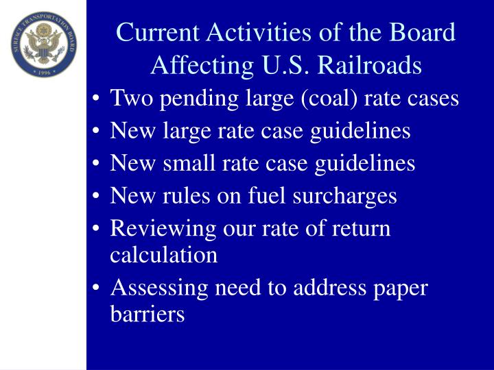 Current Activities of the Board Affecting U.S. Railroads