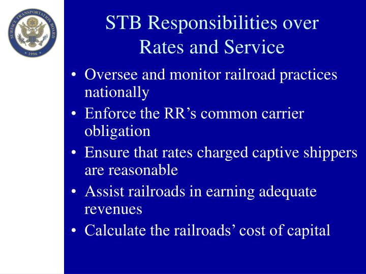 STB Responsibilities over