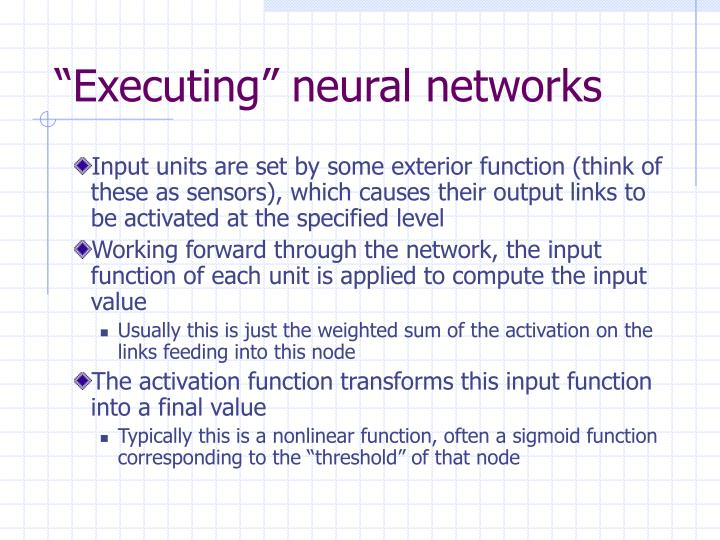 """""""Executing"""" neural networks"""