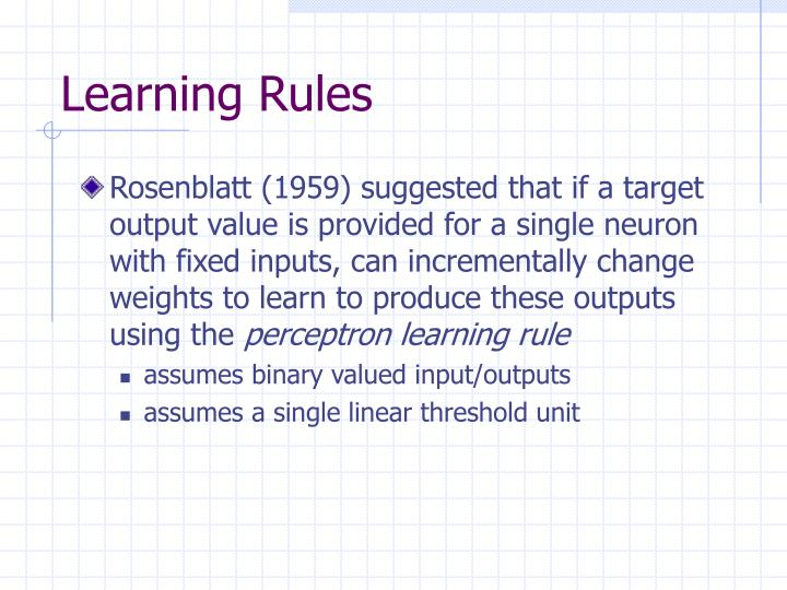 Learning Rules