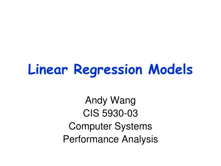 linear regression models n.
