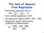 the sum of squares from regression