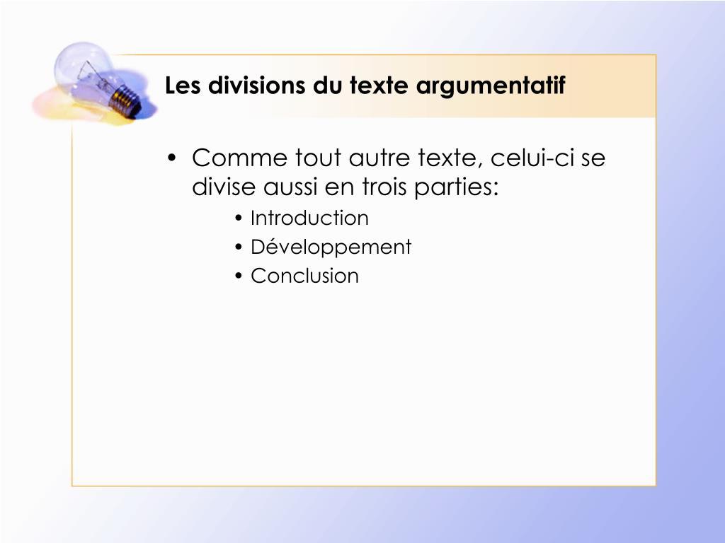 PPT - Le texte argumentatif PowerPoint Presentation, free ...