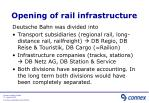 opening of rail infrastructure
