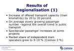 results of regionalisation 1