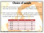 choice of sample