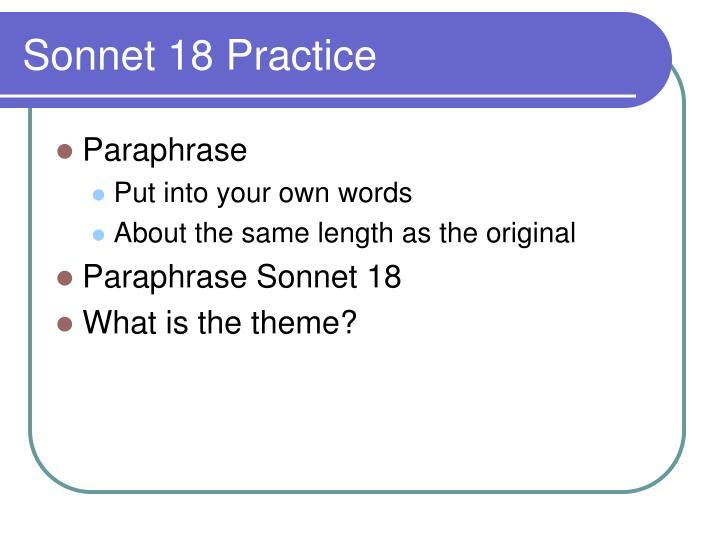 Sonnet 18 Practice