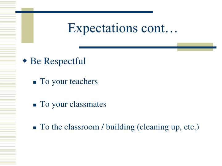 Expectations cont…