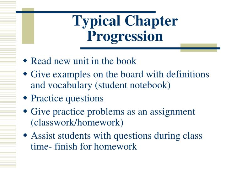 Typical Chapter Progression