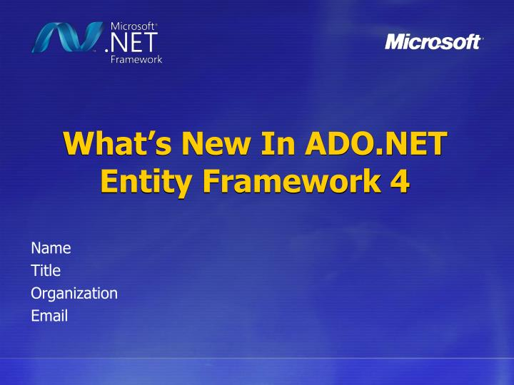 What s new in ado net entity framework 4