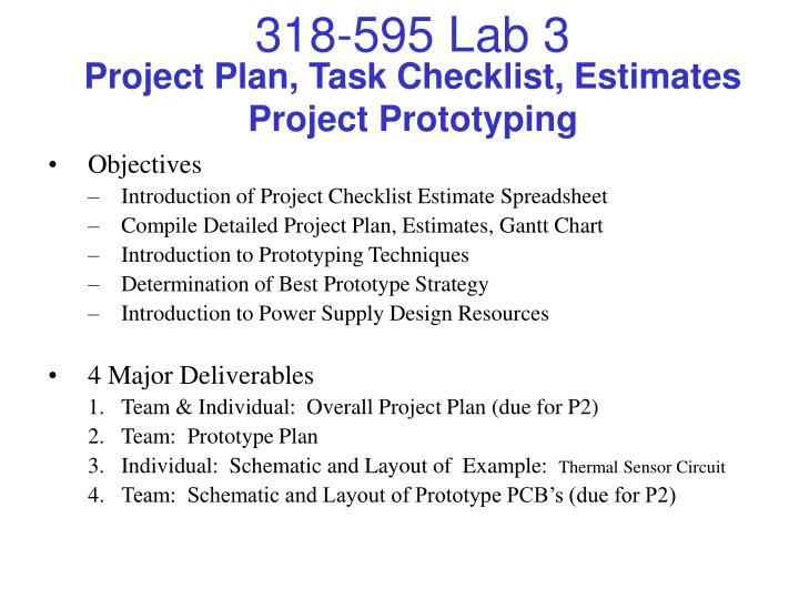 ppt project plan task checklist estimates project prototyping