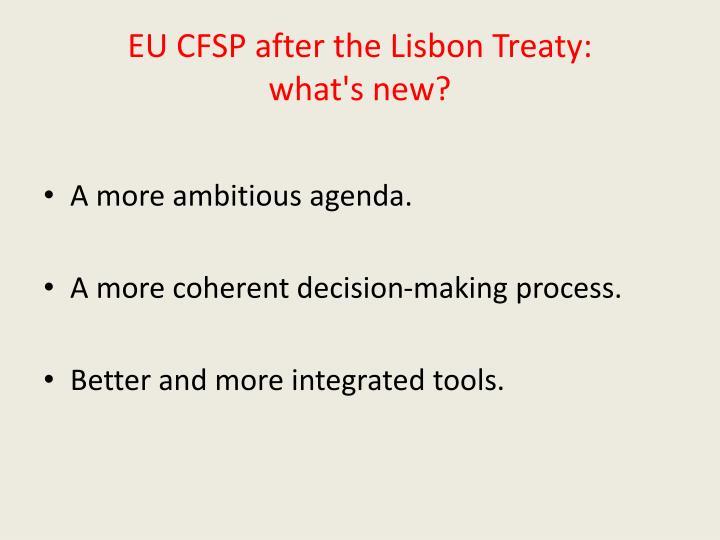 EU CFSP after the Lisbon Treaty: